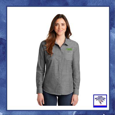 Ladies Slub Chambray Button Down Shirt – Choose your logo
